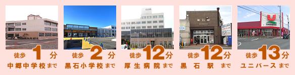 中郷中学校 黒石小学校 厚生病院 黒石駅 ユニバース