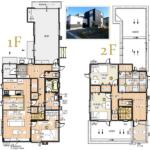 4LDK 車庫付き、15帖のLDKに小上りの畳スペース、2階にはサンルームとベランダ付き(間取)